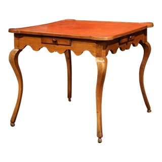 Mid-19th Century French Louis XV Walnut & Red Leather Game Table