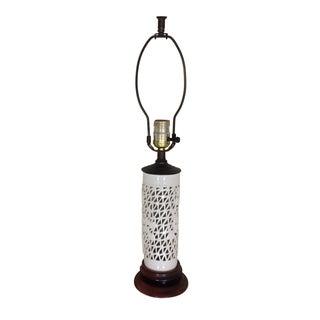Vintage Pierced Blanc De Chine Lamp