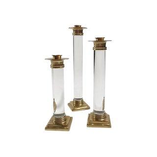 Lucite & Brass Candlesticks, S/3