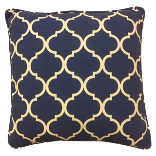 Blue & White Geometric Indoor/Outdoor Pillow