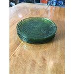Image of Vintage Libbey Rock Sharpe Olive Green Salad Plates- Set of 5