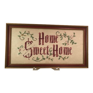 Vintage Home Sweet Home Framed Needlepoint