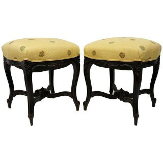 1880s Louis XV Revival Walnut Stools - a Pair