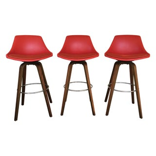 John Yellen Mid-Century Red Bar Stools - Set of 3