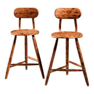 Kai Pedersen studio pair bar stools with removable backrest , USA, 1983