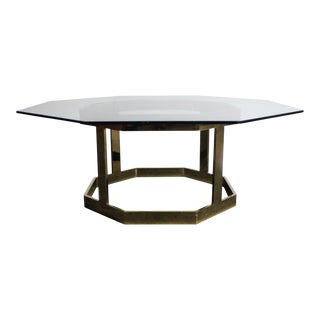 Milo Baughman Attributed Octagonal Glass Coffee Table