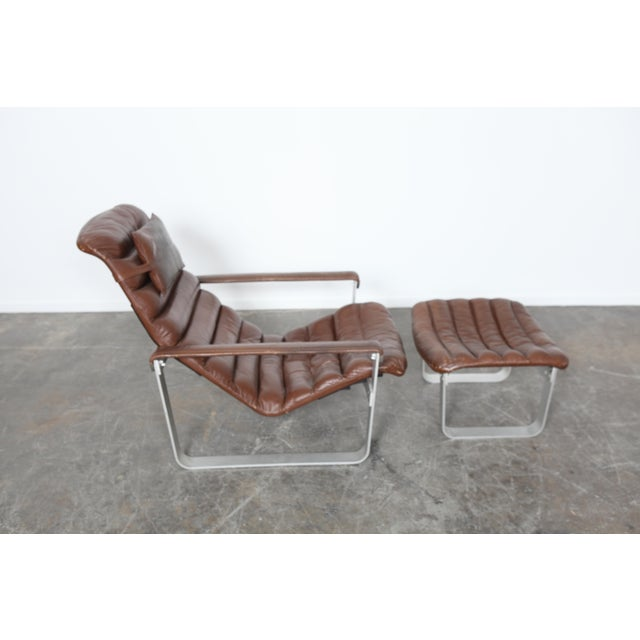 Asko Finland Mid-Century Leather Lounge and Ottoman - Image 3 of 5