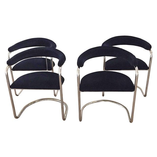 Chrome & Velvet Armchairs - Set of 4 - Image 1 of 7