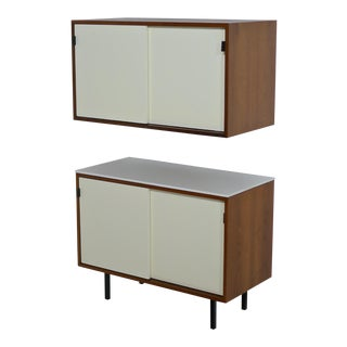 Pair of Knoll Bar Credenzas in White Lacquer, Walnut and Vitrolite