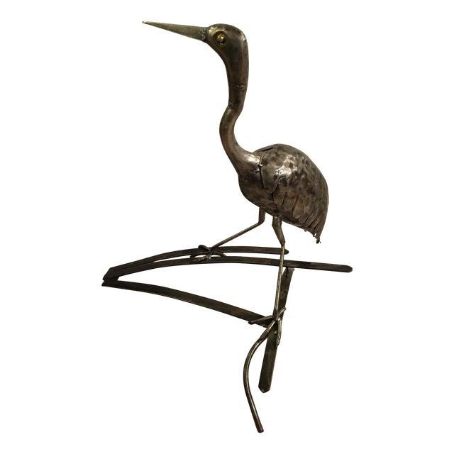Image of Metal Bird Heron Statue
