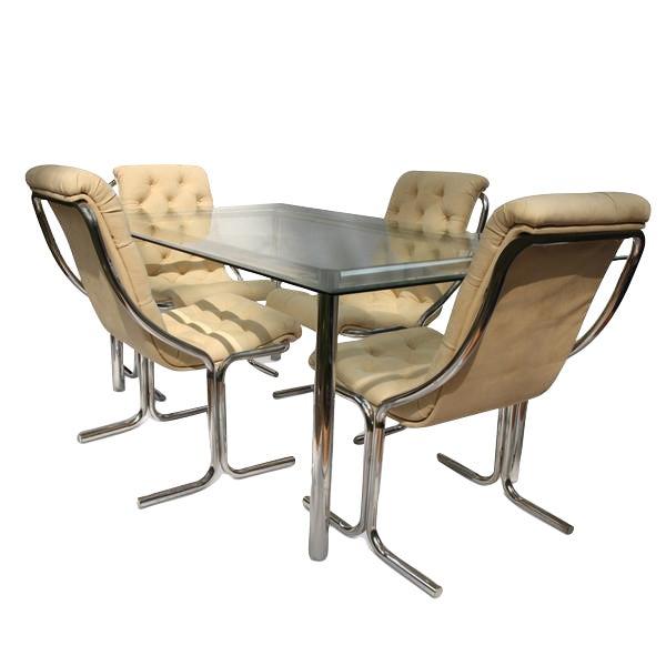 Image of Mid-Century Chrome & Glass Dining Set