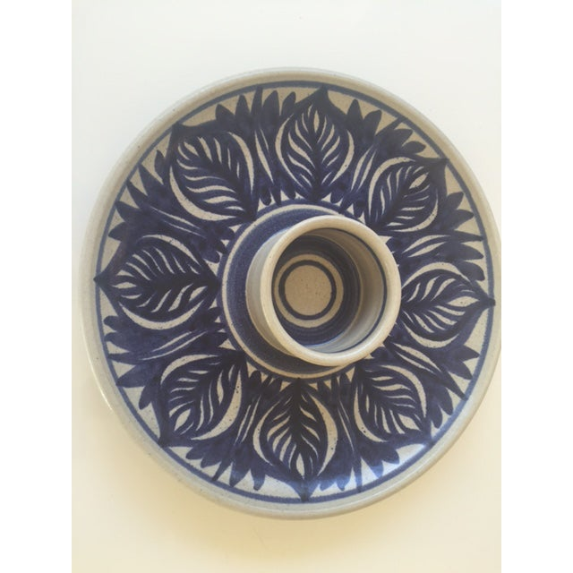 Blue Leaf Painted Stoneware Chip & Dip Serving Dish - Image 9 of 9