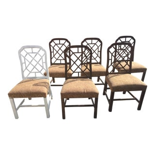 Chinese Chippendale Fretwork Dining Room Chairs - Set of 6