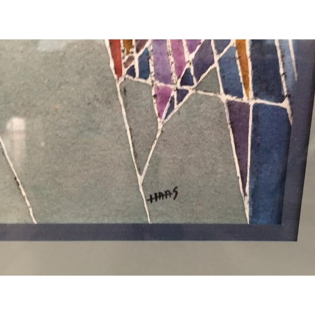 Geometric Abstract Watercolor Painting - Image 4 of 9