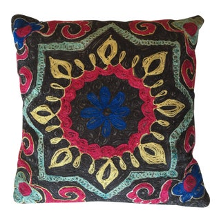 Crewelwork Embroidered Suzani Pillow