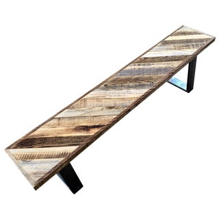 Reclaimed Wood Weathered Redwood Bench