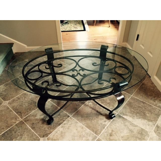 Image of Glass and Iron Cocktail Table