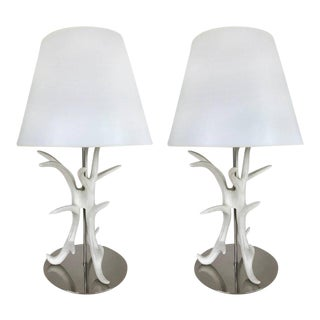 White Painted Antler Table Lamps - A Pair