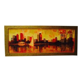 Vintage Modernist Orange Yellow Abstract Cityscape Painting