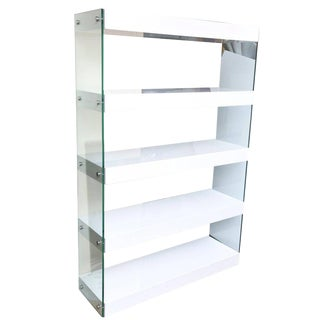 Vintage White Lacquer Wood and Glass Five-Tier Shelving Unit