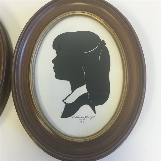 Vintage Boy & Girl Silhouettes, 1972 Signed - Pair - Image 3 of 11