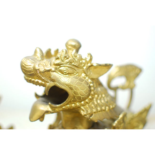 Brass Foo Dogs With Gilt Finish - A Pair - Image 3 of 6