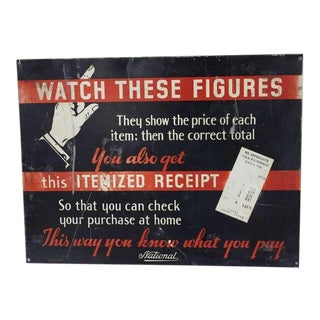 1930's Advertising Sign For National Cash Register Co
