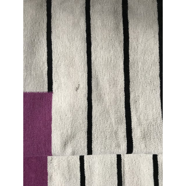 Flatwoven Dhurrie Pink on Black & White Striped Rug - 8′ × 10′ - Image 6 of 6