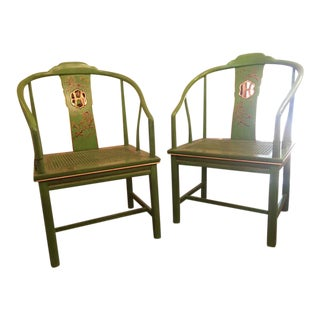 Chinoiserie Painted Ming Chairs - A Pair
