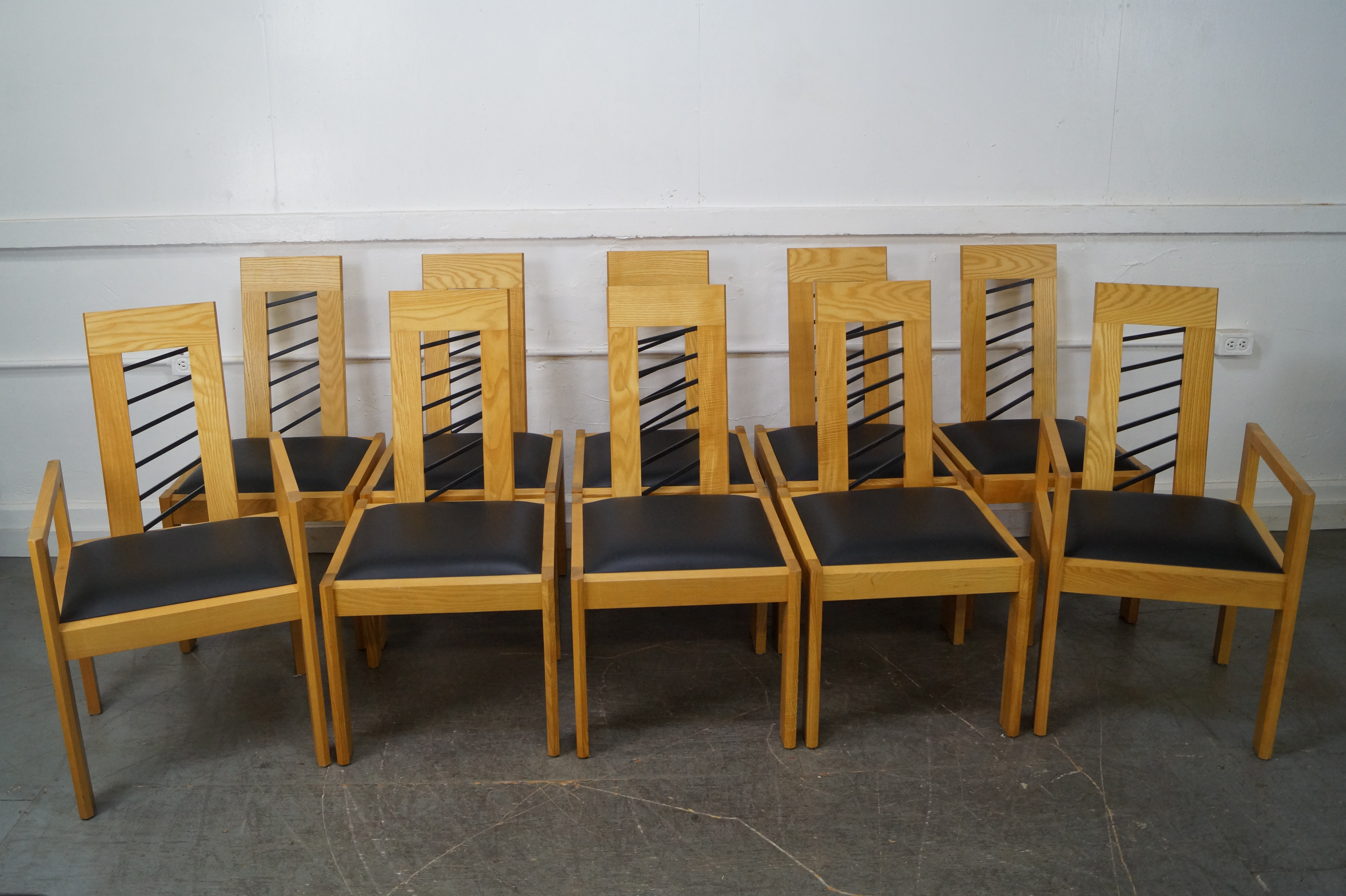 Miles Carter Contemporary Ash Wood Dining Chairs   Set Of 10   Image 2 Of 10