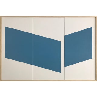 """Jason Trotter Original Acrylic Painting """"Blue Disjointed Triptych JET0467"""""""