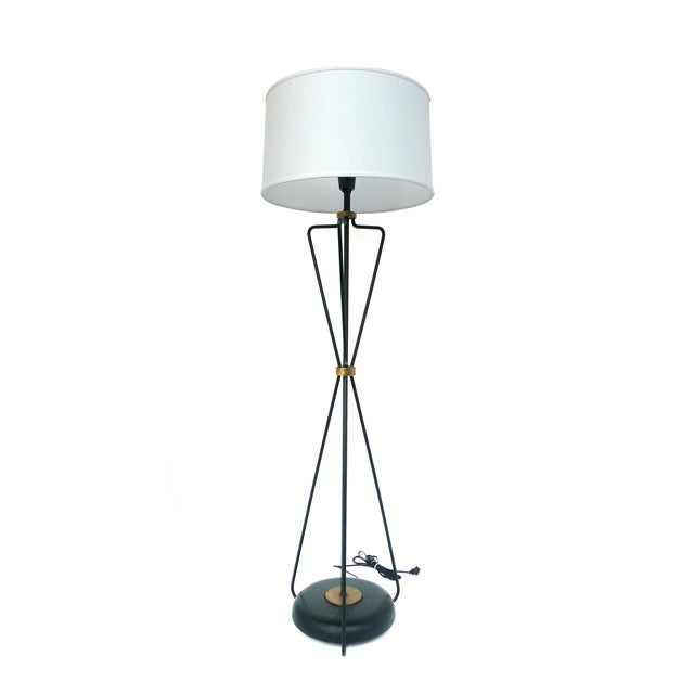 Jacques Adnet-Style Black & Brass Floor Lamp - Image 2 of 8