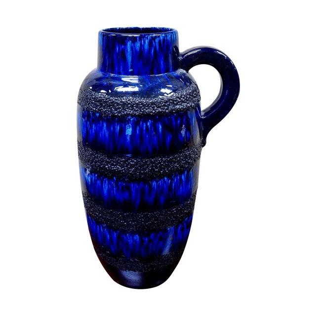 Scheurich Keramik Vintage Blue Fat Lava Floor Vase - Image 1 of 6