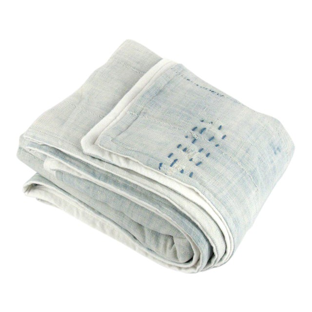 Light Blue Mudcloth Throw Blanket - Image 1 of 5