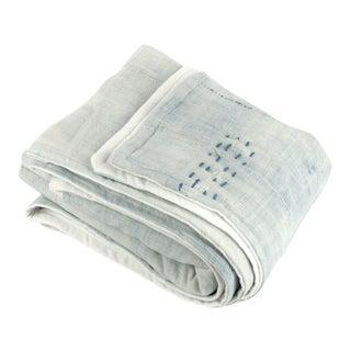 Light Blue Mudcloth Throw Blanket
