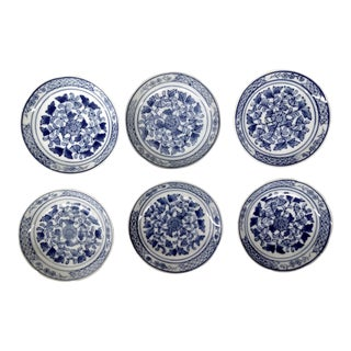Vintage Blue & White Condiment Dishes - Set of 6