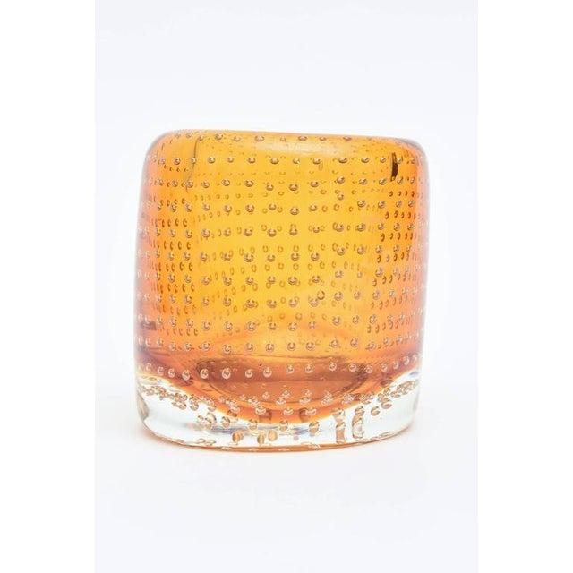 Heavy Bullecante Italian Murano Seguso Glass Vase or Candleholder - Image 2 of 8