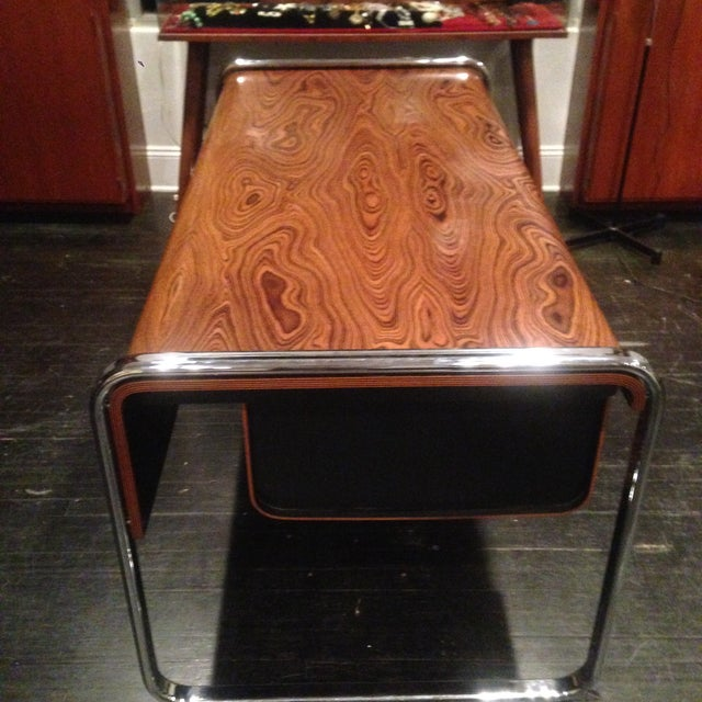 Herman Miller Zebra Wood & Chrome Desk - Image 4 of 10