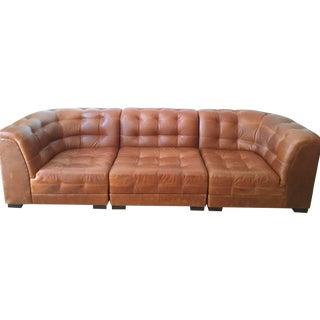 Ken Fulk Cognac Leather Sofa