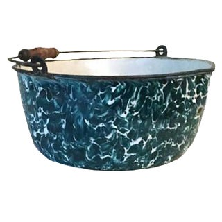 Antique Teal Graniteware Stock Pot