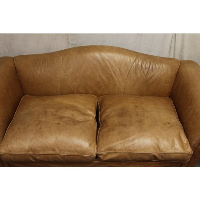 Large Vintage French Camelback Leather Couch - Image 4 of 9