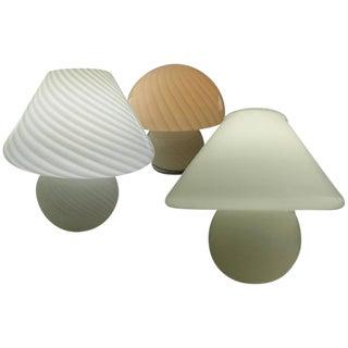 Gino Vistosi Style Murano Art Glass Mushroom Lamps