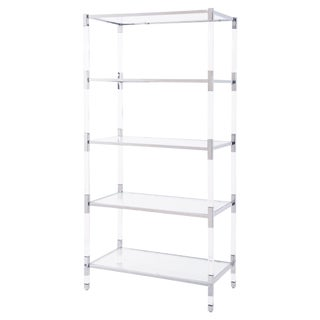 Modern Acrylic & Silver Steel Etagere Bookcase Shelves
