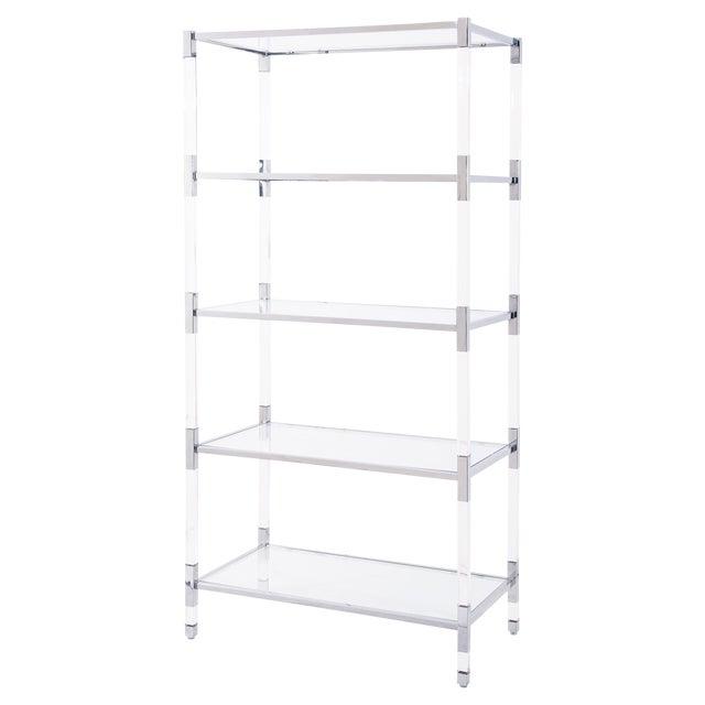 Modern Acrylic & Silver Steel Etagere Bookcase Shelves