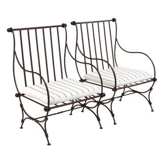 Pair Of Italian Liberty Style Garden Armchairs