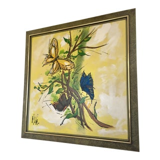 Mid-Century Yellow Butterfly Painting