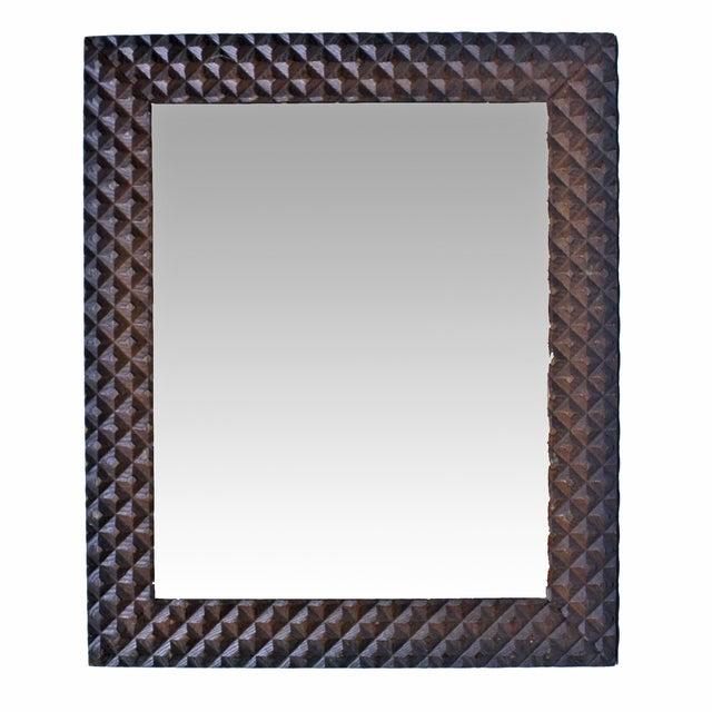 Image of Vintage Pyramid Pattern Tramp Art Mirror