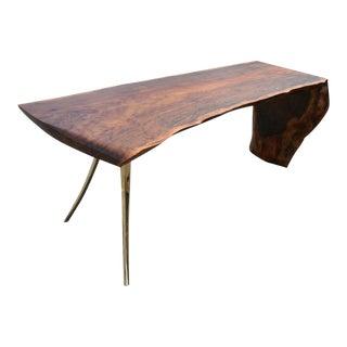 Waterfalled Walnut & Cast Bronze Legs Slab Desk