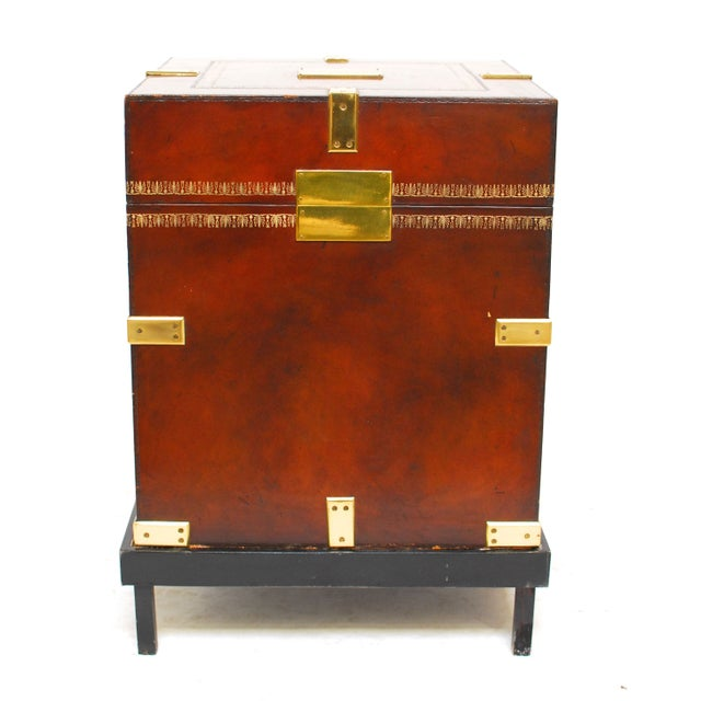 Image of Maitland-Smith Tooled Leather Trunk on Stand