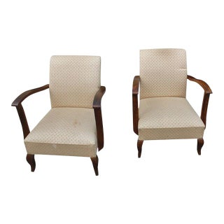 1940s French Art Deco Solid Mahogany Armchairs - A Pair